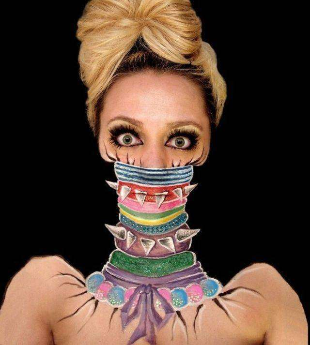 Неймовірні образи на обличчі візажиста і художника Інес Куш (21 фото)