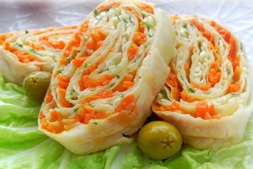 Лаваш с крабовыми палочками и корейской морковкой: рецепт, особенности приготовления Кулинария