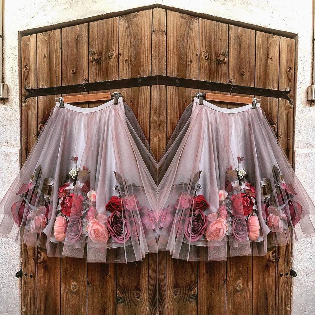 Невероятные наряды из шифона и искусственных цветов декор,женские хобби,рукоделие,своими руками